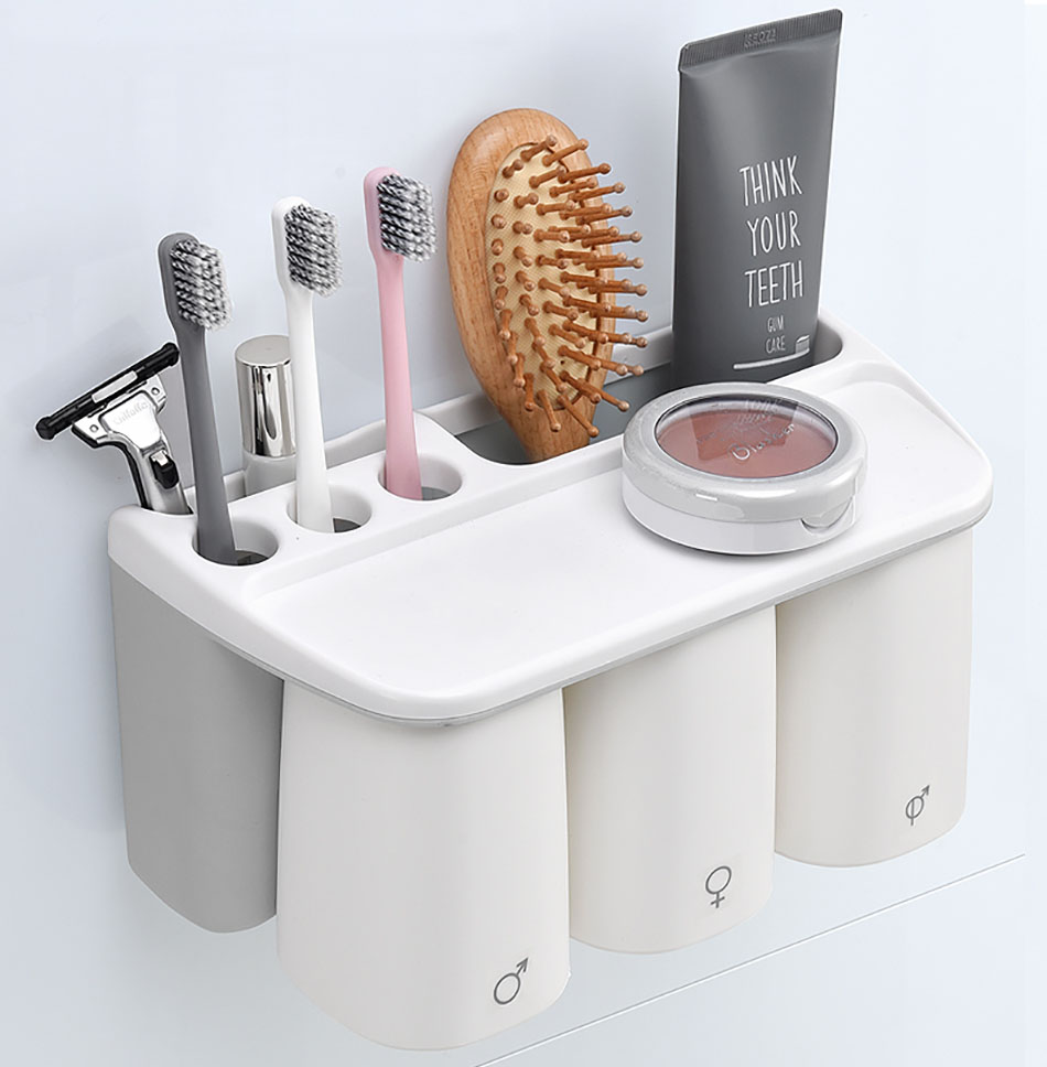 Grey Toothbrush Holder Set