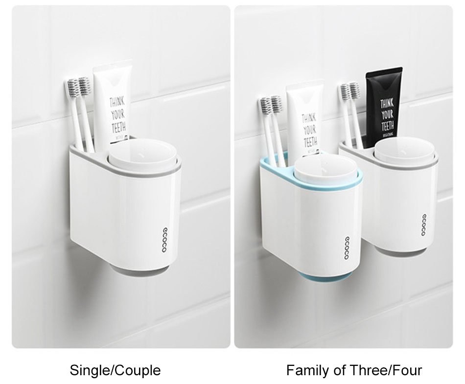 Grey Toothbrush Holder, Blue Toothbrush Holder Single/Couple, Family Configurations
