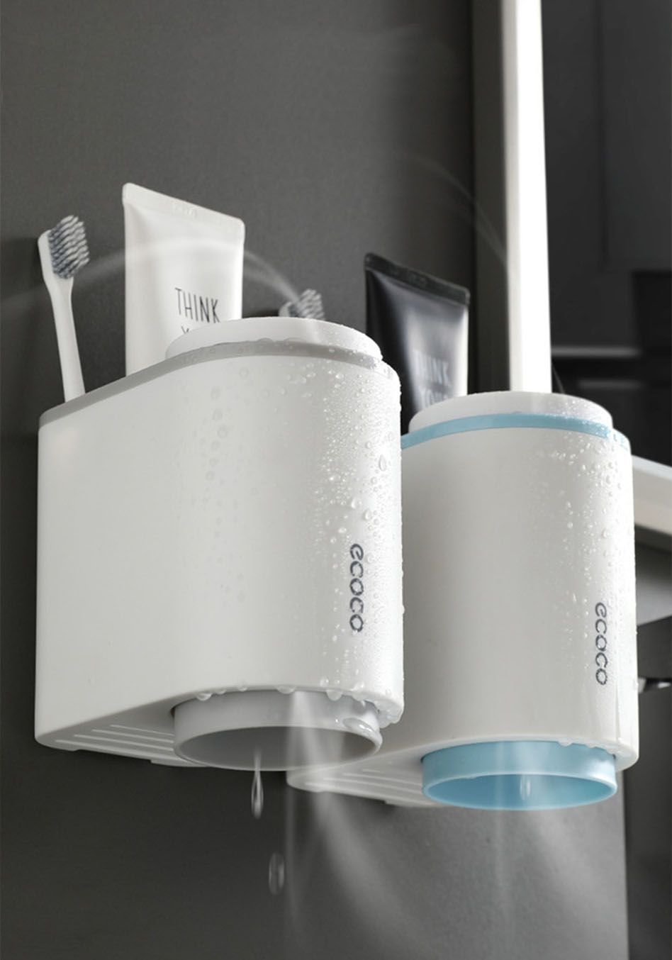 Grey Toothbrush Holder, Blue Toothbrush Holder Ventilation Design