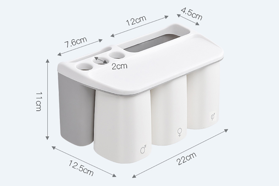 Dimensions of Family Grey Toothbrush Holder