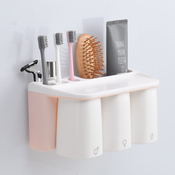 Pink Toothbrush Holder for Family