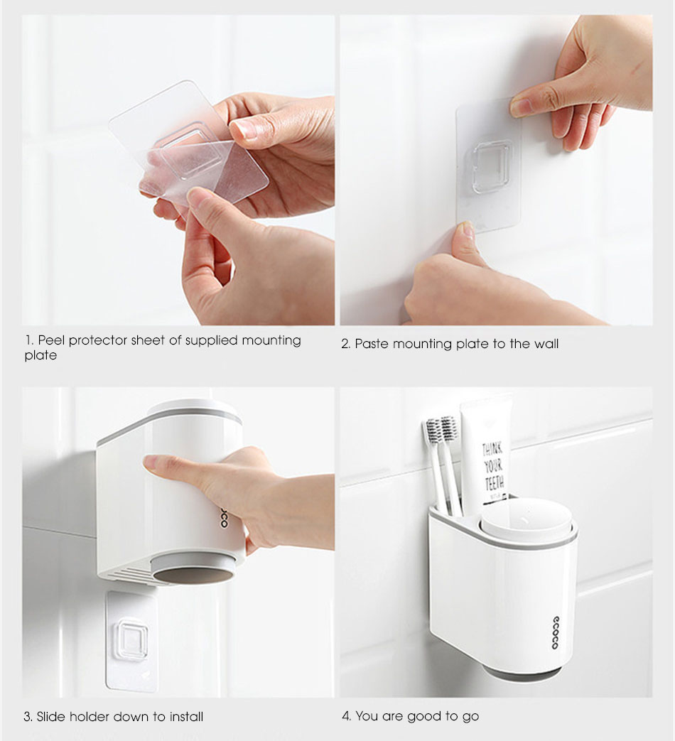 Grey Toothbrush Holder Installation Steps