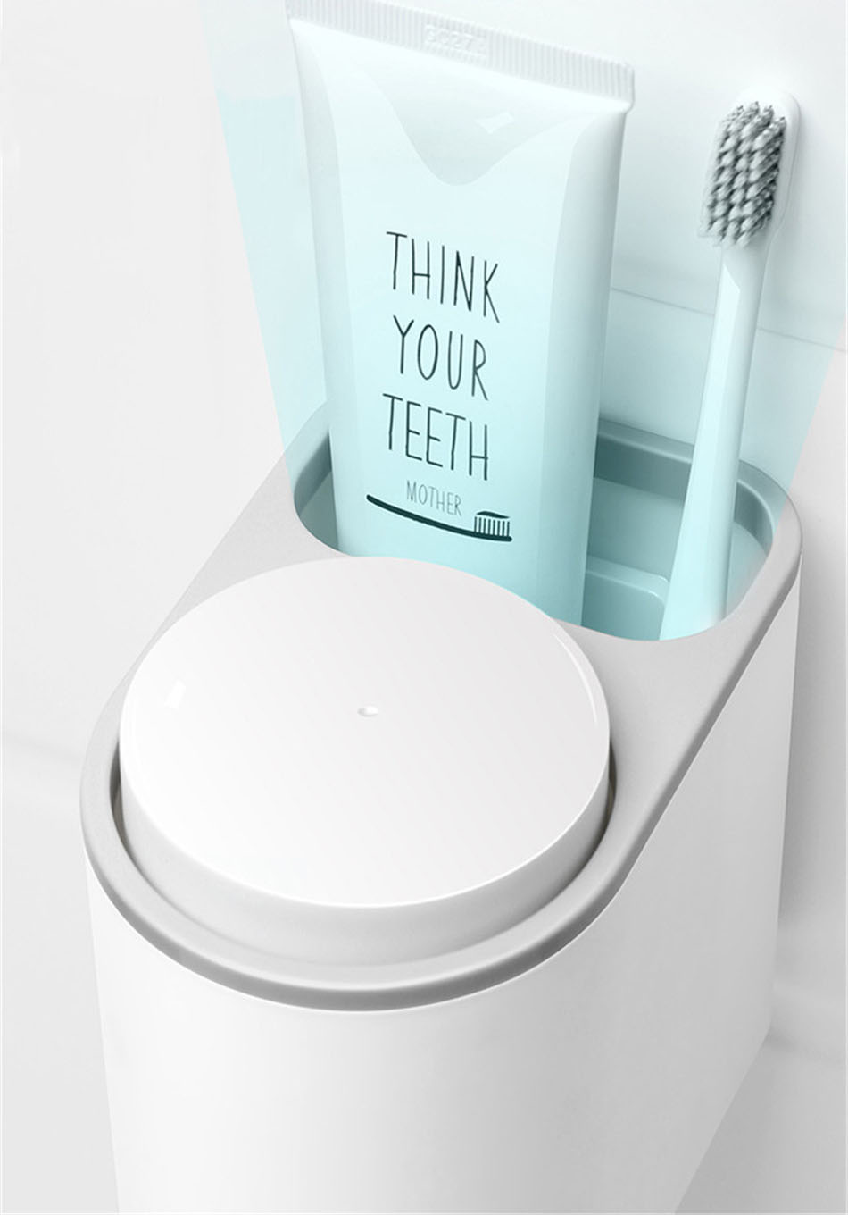 Grey Toothbrush Holder Storage Compartment