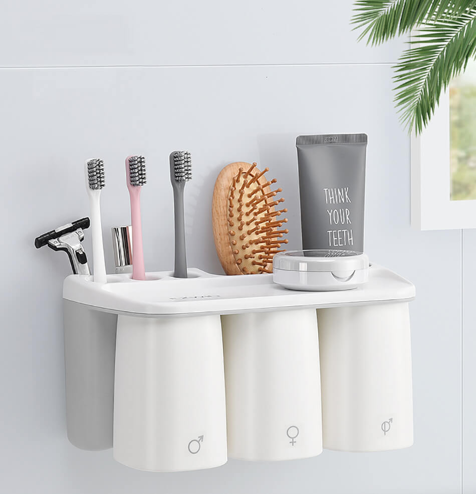 Grey Toothbrush Holder, Designer Toothbrush Holder, Toothbrush Holder Set, Modern Toothbrush Holder, Brush and Paste Holder, Toothbrush Holder for Bathrroom